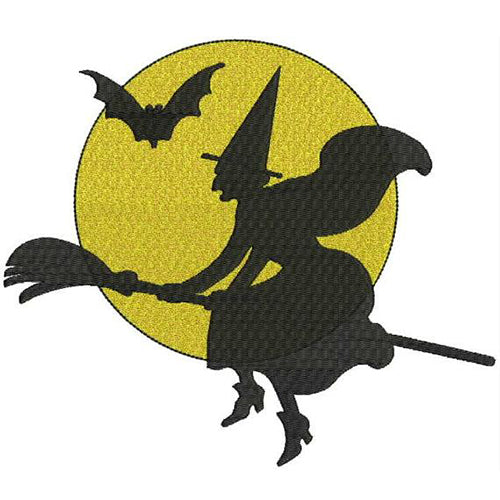 Witch Flying Halloween Decorating Stickers Machine Embroidery Designs