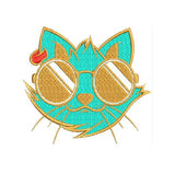 Cool cat with glasses Machine Embroidery Designs 1157