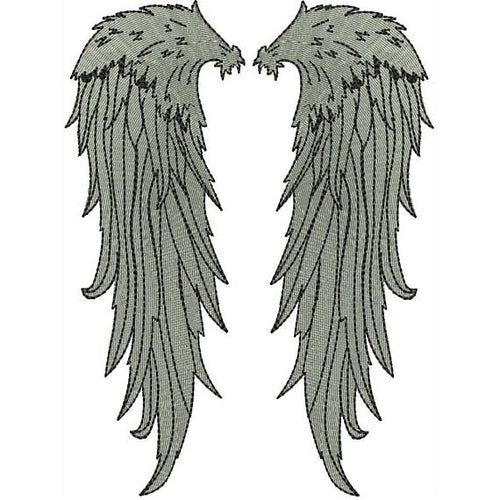 Angel Wings Embroidery Design - Applique filled stitch Embroidery Design D : 65