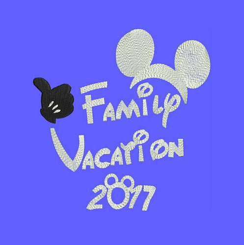2017 Disney Family Vacation Machine Embroidery Designs - Applique Instant Download Filled Stitches Design 75