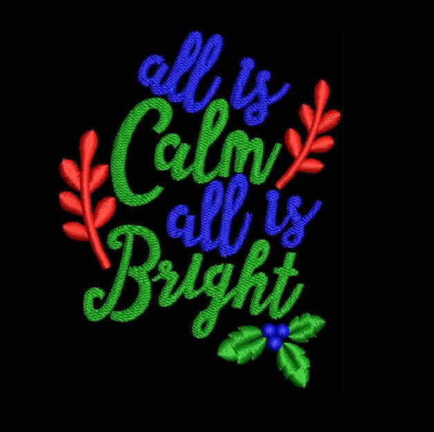 All Is Calm All is Bright Filled Stitches Design 1059