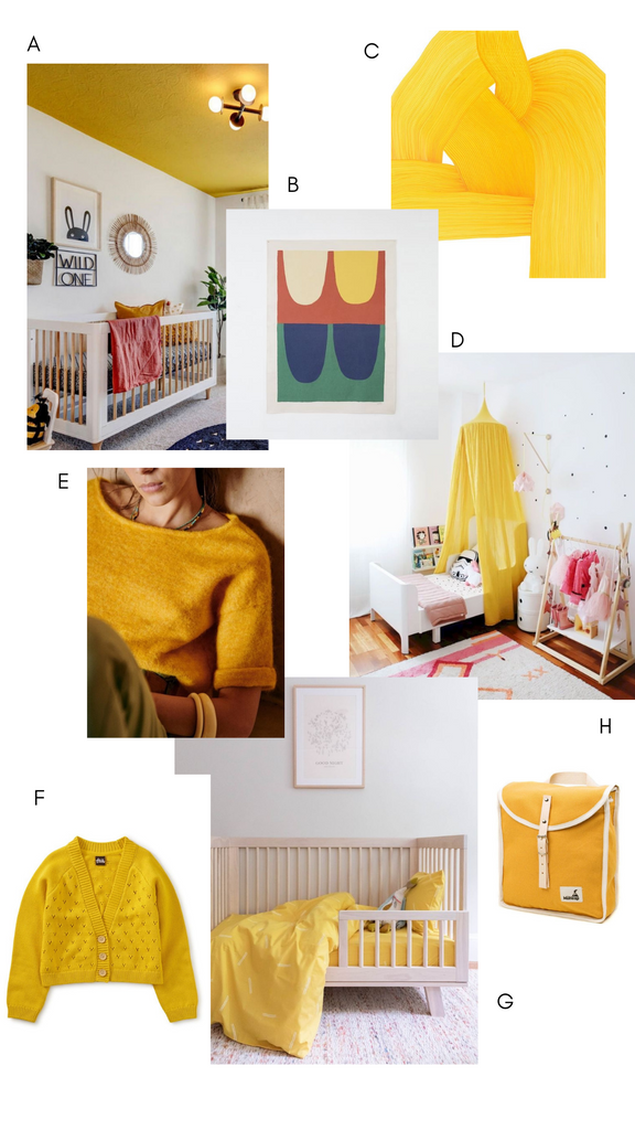 Mood board of yellow products