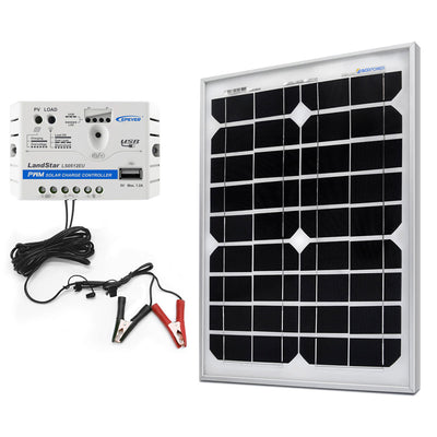 ACOPOWER 20W 12V Solar Charger Kit, 5A Charge Controller with Alligator Clips