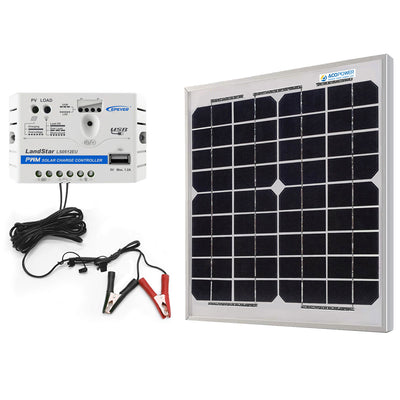 ACOPOWER 10W 12V Solar Charger Kit, 5A Charge Controller with Alligator Clips