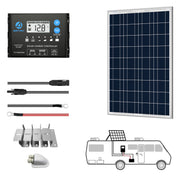 ACOPOWER 100W 12V  Poly Solar RV Kits, 20A PWM Charge Controller