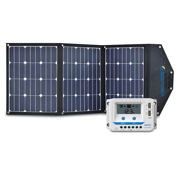 ACOPOWER 120W Foldable Solar Suitcase with 10A LCD Charge Controller - acopower