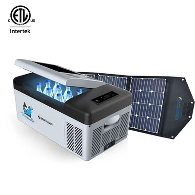 LiONCooler Combo, X15A Portable Solar Fridge/Freezer (16 Quarts) and 90W Solar Panel