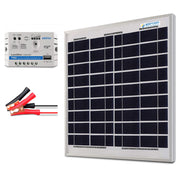 ACOPOWER 15W 12V Solar Charger Kit, 5A Charge Controller with Alligator Clips - acopower