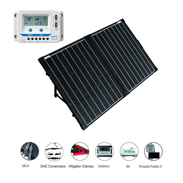 ACOPOWER 100W Foldable Solar Panel Kit with10A LCD Charge Controller
