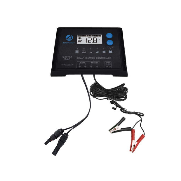 ACOPOWER Waterproof ProteusX 20A PWM Solar Charge Controller with Alligator Clips and MC4 Connectors
