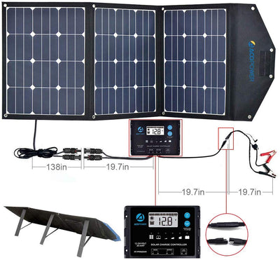 ACOPOWER LTK 120W Foldable Solar Panel Kit , w/ ProteusX 20A Charge Controller