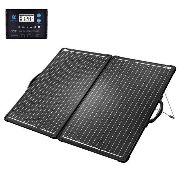 ACOPOWER 120W Light Weight Foldable Solar Panel Kit, Waterproof ProteusX 20A LCD Charge Controller - acopower