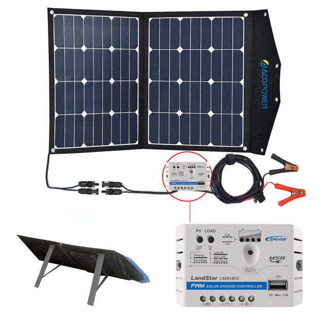 ACOPOWER 70W Portable Solar Suitcase with 5A Charge Controller - acopower