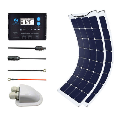 ACOPOWER 220Watts Flexible Solar RV Kit w/ 20A Waterproof Charge Controller, Solar Cable Wire,Tray Cable and Y Branch Connectors,Cable Entry Housing for Marine, RV, Boat, Caravan