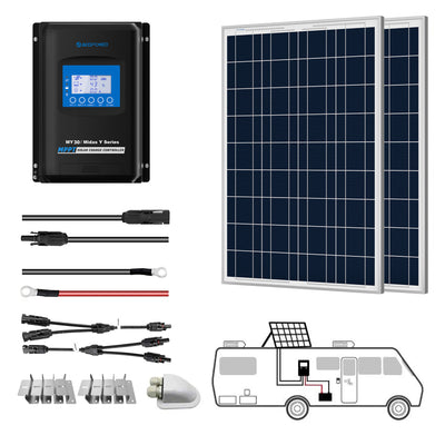 ACOPOWER 200W 12V  Poly Solar RV Kits, 30A MPPT Charge Controller
