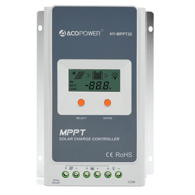 ACOPWER 20A MPPT Solar Charge Controller - acopower