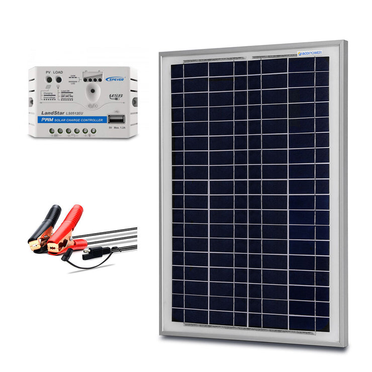 ACOPOWER 25 Watt Off-grid Solar Kits,with 5A charge controller SAE connector
