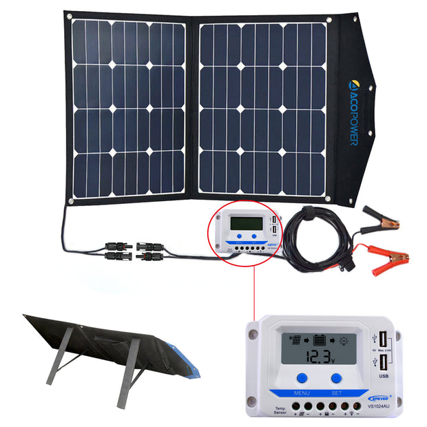 ACOPOWER 80W Foldable Solar Suitcase with 10A LCD Charge Controller - acopower