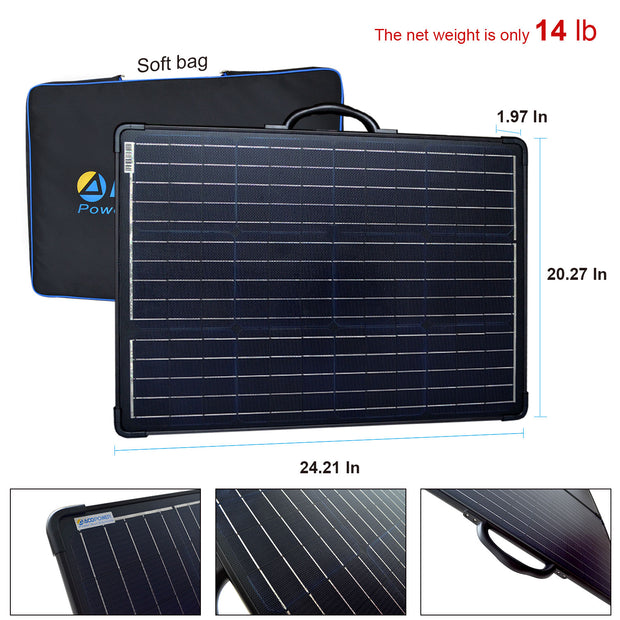 ACOPOWER 120W Light Weight Foldable Solar Panel Kit, Waterproof ProteusX 20A LCD Charge Controller
