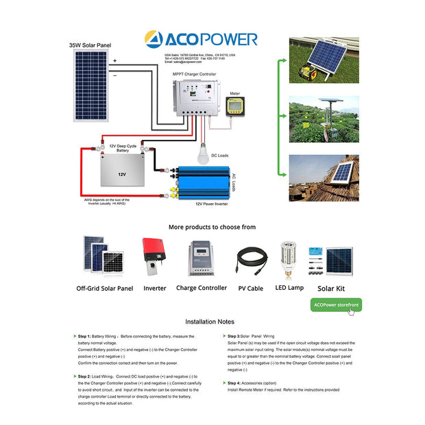 ACOPWER 35 Watts Poly Solar Panel, 12V - acopower
