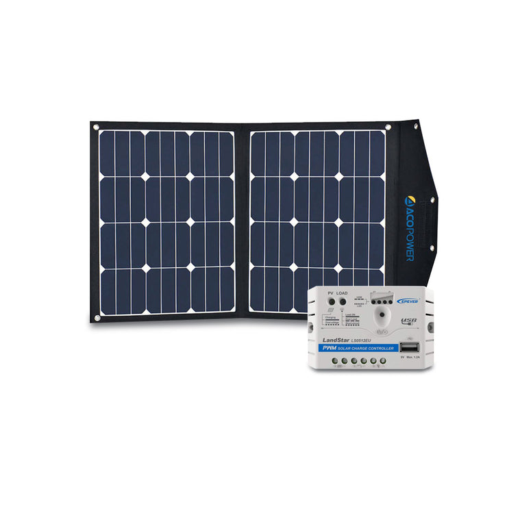 ACOPOWER 70W Portable Solar Suitcase Kit with 5A Charge Controller