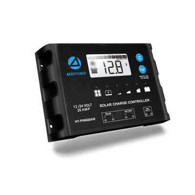 ACOPOWER Waterproof ProteusX 20A PWM Solar Charge Controller Compatible With 8 Battery Types