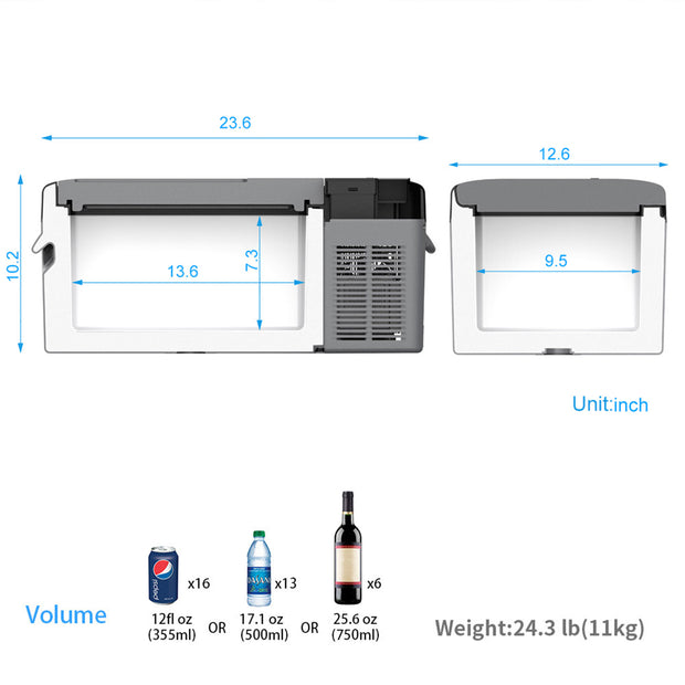 ACOPOWER LionCooler X15A Combo,16 Quarts Solar Freezer & Extra 173Wh Battery (2 Batteries)