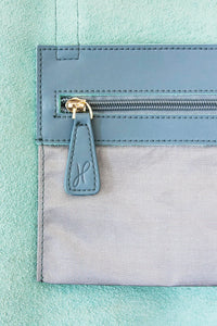 Small Blue Grey Zip Tote