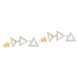 Troika Dangling Earrings yellow gold