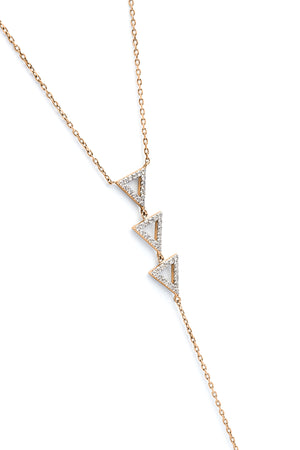 Troika Lariat Necklace rose gold
