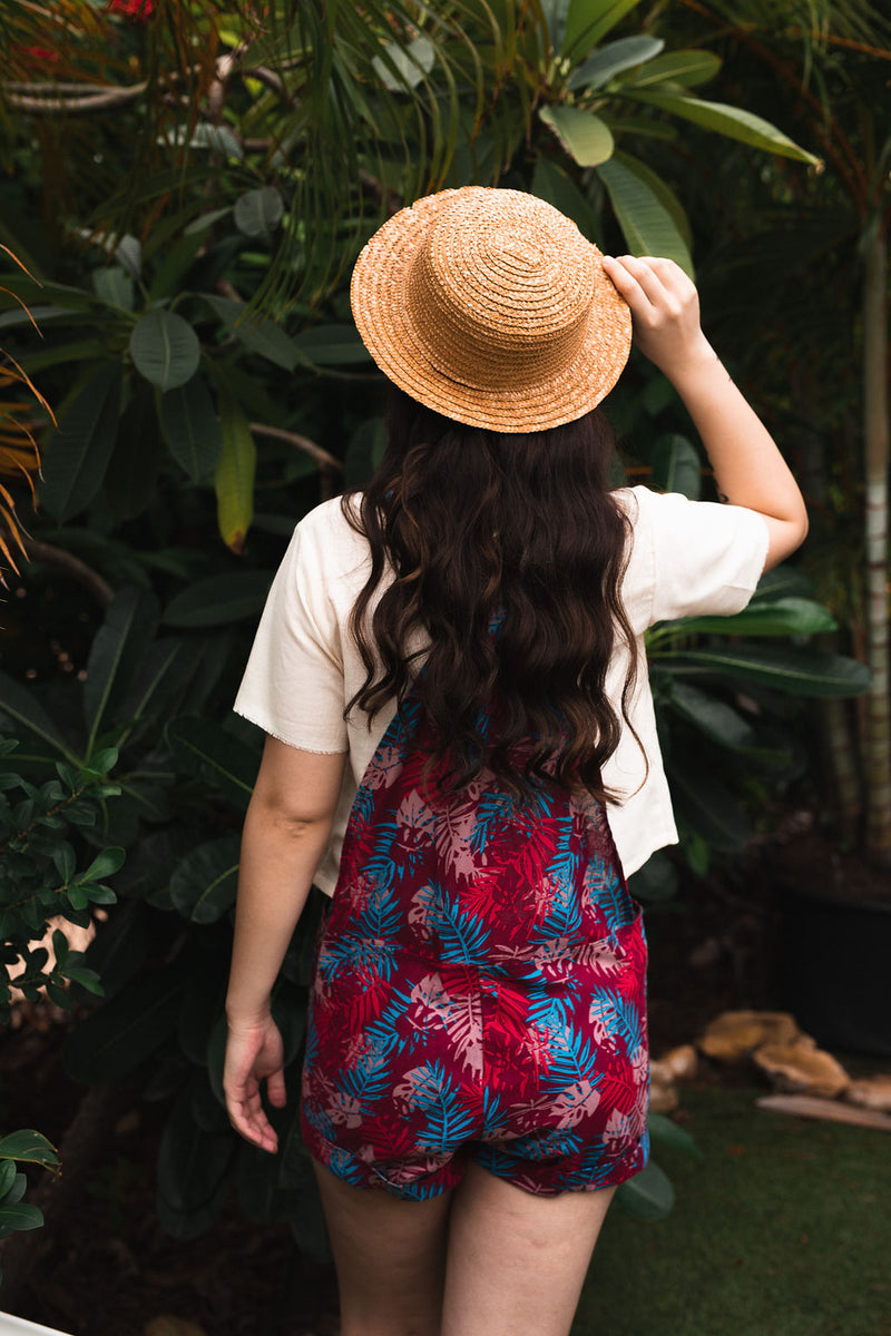 Palm Tree Leave Red Linen Jumpsuit in Cotton