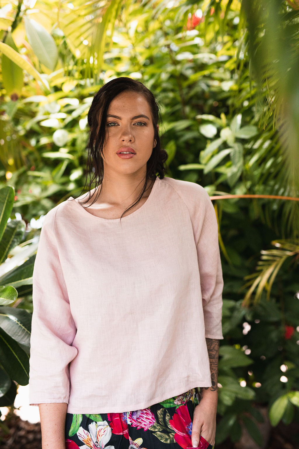 Bat Sleeve Top with Round Neck in European Linen