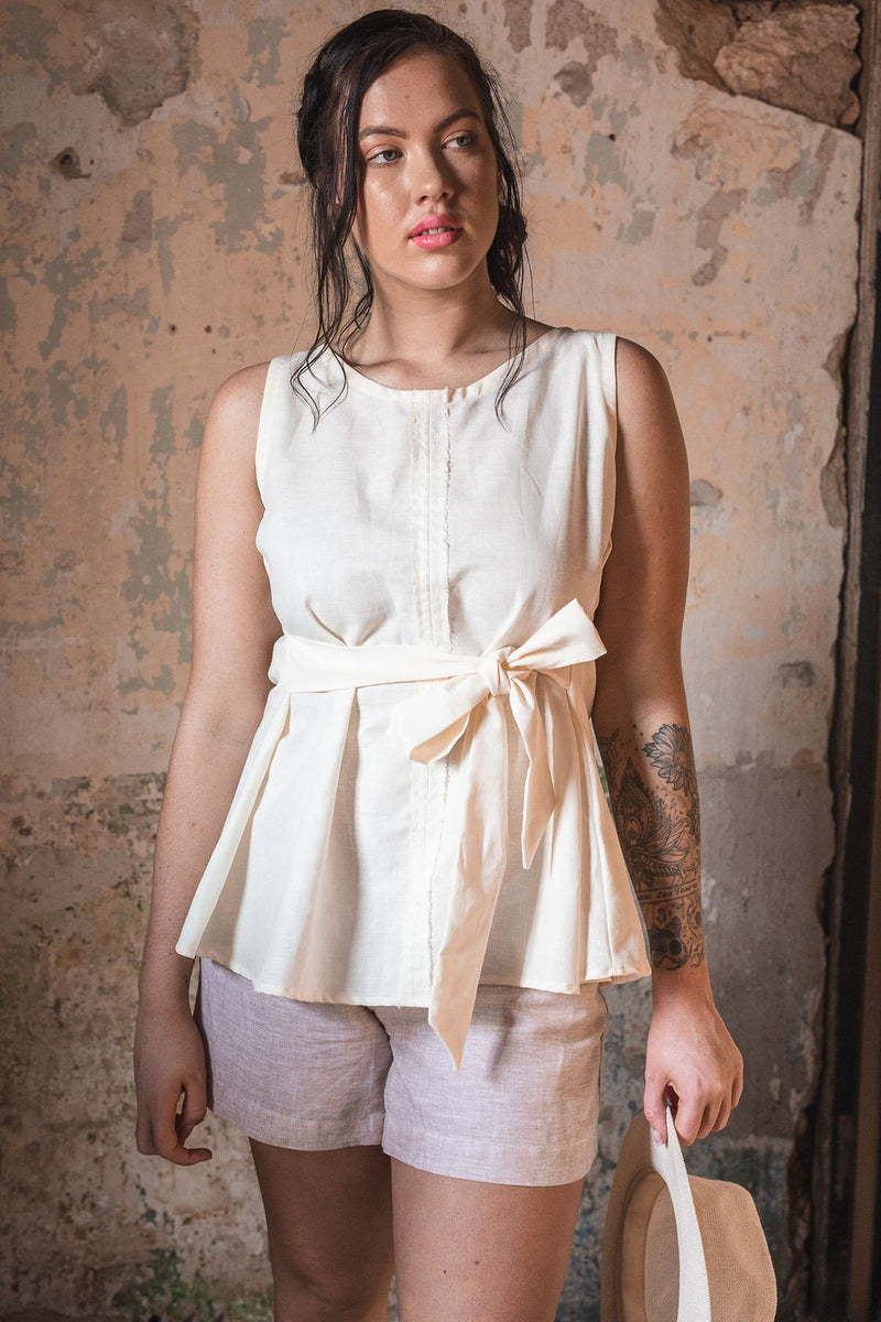 A-line Top with Side Ties in European Linen