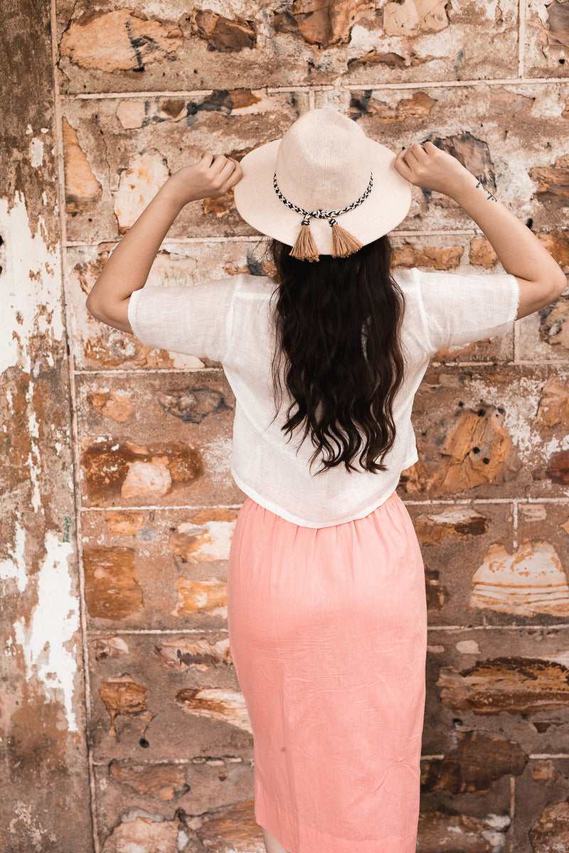 High Waisted Skirt Danielle with Pockets in European Linen
