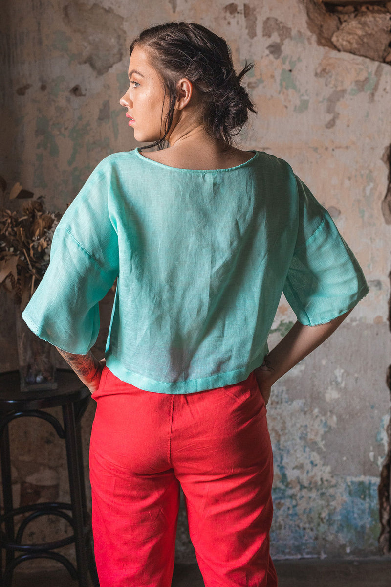 Tina Box Top with 3/4 Sleeves in European Linen