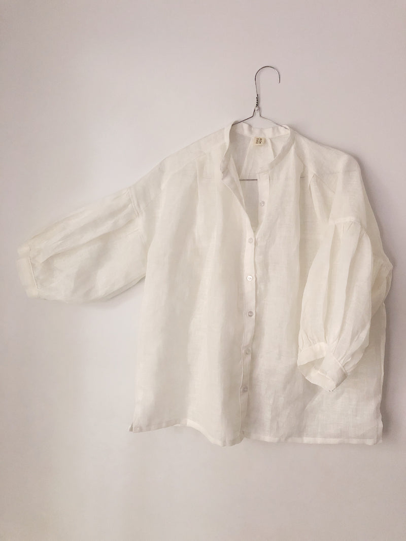 Elza Shirt with Puff Sleeves in European Linen