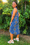 Blue Geometric Like-a-Wrap  Sleeveless Dress in Rayon
