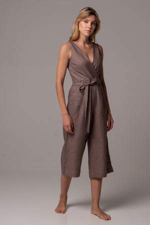 Canyon Clay Wrap Front Jumpsuit with Culotte Leg in Premium European Linen