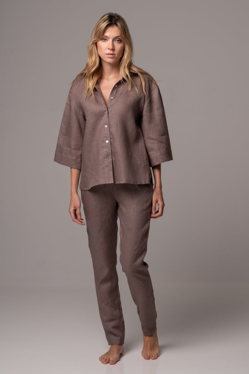Canyon Clay Wide Sleeve Shirt in Premium European Linen