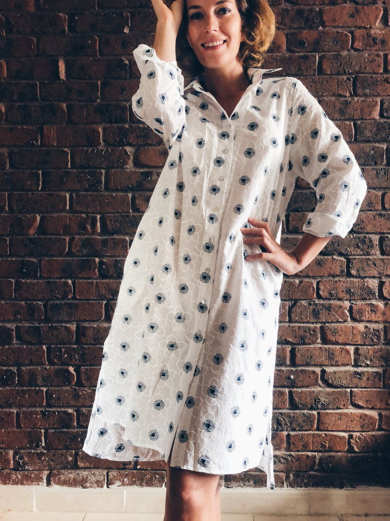 White Embroidered Long Sleeve Shirt Dress in Cotton