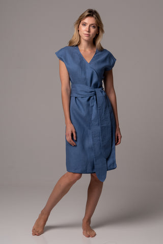 Touch of Sand Wrap Dress in Premium European Linen
