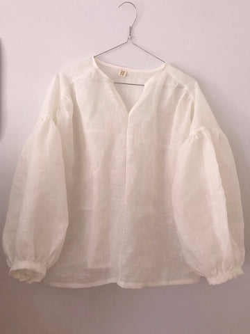 Sakura Loose Blouse with Front Button in European Linen