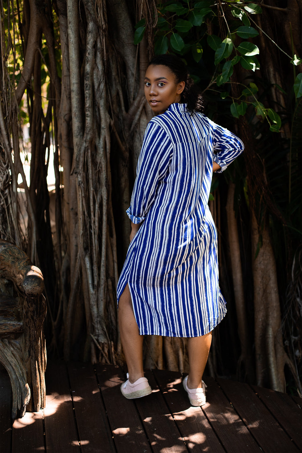 Blue striped Long Sleeve Shirt Dress in Rayon