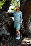 Light Blue Long Sleeve Shirt Dress in Rayon
