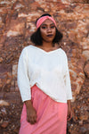 Bat Sleeve Top with V-neck in European Linen