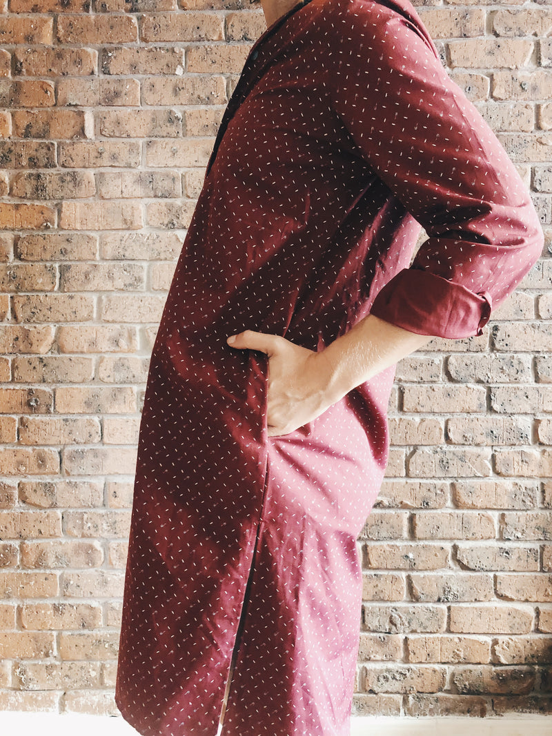 Dark Red Long Sleeve Shirt Dress in Cotton Blend