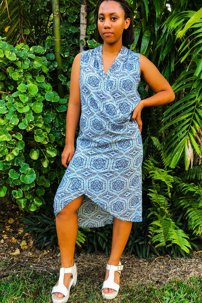 Light Blue Like-a-Wrap Sleeveless Dress in Rayon