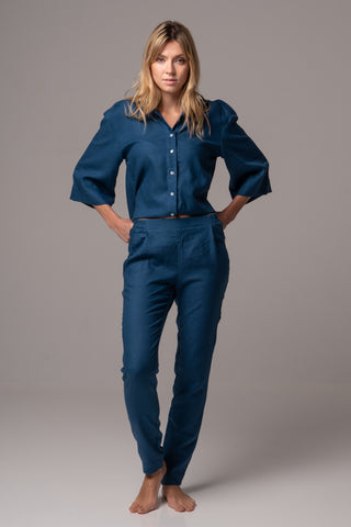 SLeepy Blue Long Sleeve Wrap Top in Premium European Linen