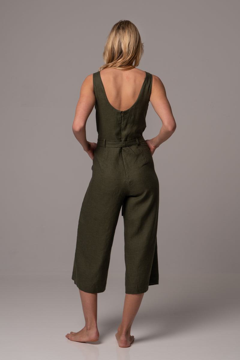 Ripe Olive Wrap Front Jumpsuit with Culotte Leg in Premium European Linen
