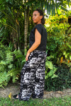 Black&White Wide Leg Pina Pants  Rayon